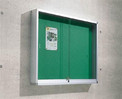 屋外掲示板 アルミ製シルバー枠 壁付 トラスコ FUK-46H