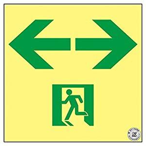 高輝度蓄光避難誘導ステッカー標識 非常口⇔ 150×150 A級認定品 日本緑十字社 No.377953