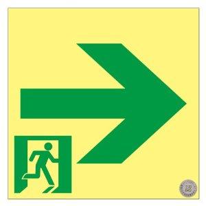 高輝度蓄光避難誘導ステッカー標識 非常口→ 150×150 S級認定品 日本緑十字社 #364951