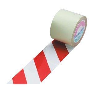 ラインテープ(ガードテープ) 白/赤 50mm幅×100m 屋内用 日本緑十字社 No.148063