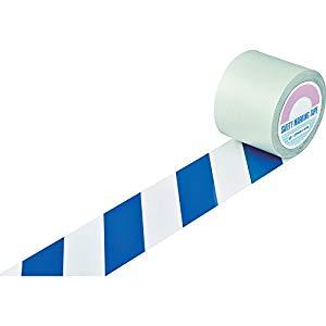 ガードテープ(ラインテープ) 白/青(トラ柄) 100mm幅×100m 日本緑十字社 #148145