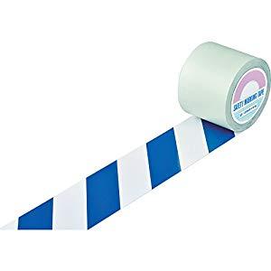 ガードテープ(ラインテープ) 白/青(トラ柄) 100mm幅×20m 日本緑十字社 #148165