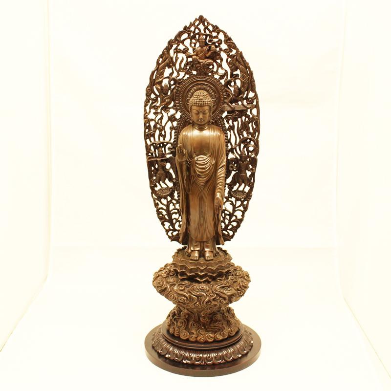 仏像 銅製 雲丸台 船型 飛天 立弥陀 6.0 送料無料 仏具 仏壇 インテリア