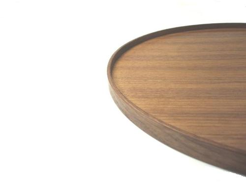 """An unvarnished wood coat walnut-maru tray"" (the small) (product made in wooden / Japanese style / Western-style / Shin pull / modern / natural / round tray // Japan)"