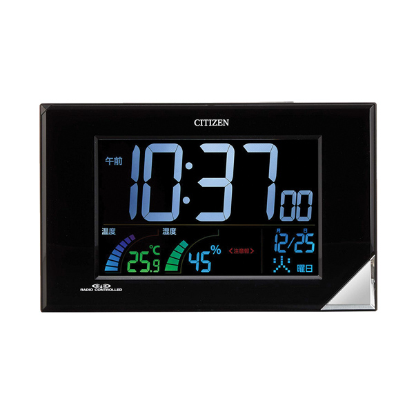 シチズン 掛置兼用デジタル電波めざまし時計 温湿度表示付 熱中症・食中毒・インフルエンザ・カビ・ダニ注意報付 置時計 掛時計 8RZ119-002 在庫限り