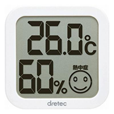 熱中症 インフルエンザの危険度目安に メール便可 ドリテック デジタル温湿度計 表情で熱中症 スタンド付き 情熱セール 壁掛けフック穴 O-271WT インフルエンザの危険度の目安がわかる 在庫限り 新作 人気