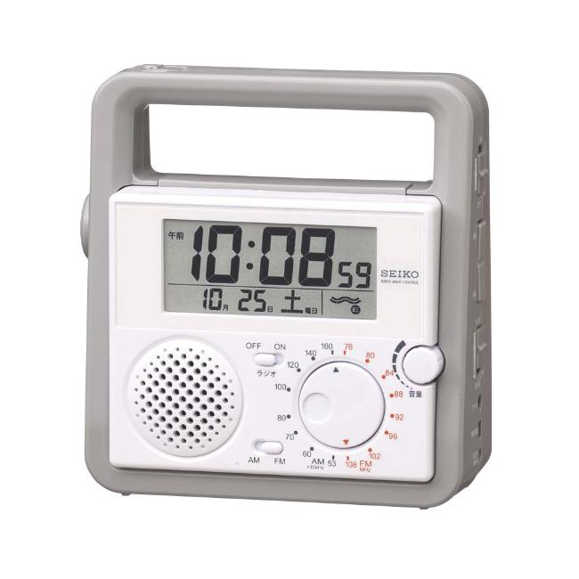 セイコー 電波目覚まし置時計 ラジオ・手動発電・非常用ブザー・懐中電灯など多機能防災クロック SQ692W 置き時計 在庫限り