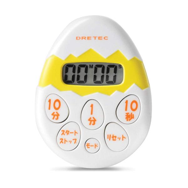 正規認証品 新規格 かわいいたまご型タイマー メール便可 ドリテック デジタルキッチンタイマー T-171WT 取り寄せ リピート機能付 買物 たまごタイマー カウントアップ
