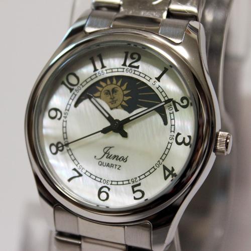 美しいシェル文字盤のサン 送料無料 一部地域を除く ムーンウォッチ Yunos メンズウォッチ 今季も再入荷 サン ムーン 日本製ムーブメント 腕時計 10気圧防水 ステンレスベルト シェル文字盤