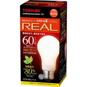 低廉 メーカー:TOSHIBA 東芝 電球形蛍光ランプ EFA15EL 11-Z 高品質新品 ネオボールZリアル 60ワット形 電球型蛍光灯 1個 電球色 口金E26 EFA15EL11Z TOSHIBA