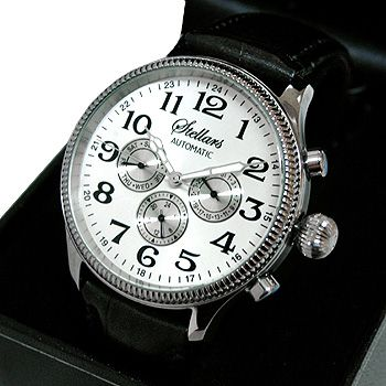 STELLARS 大型 自動巻き腕時計 牛革バンド メンズウォッチ