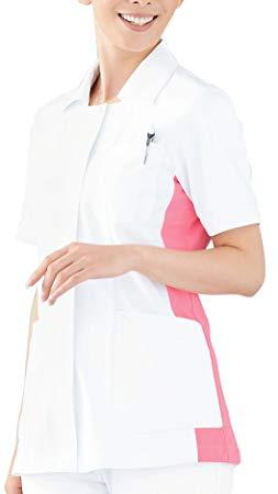 KAZEN(カゼン) レディスジャケット半袖 014-23(ホワイトXチェリーピンク 4L