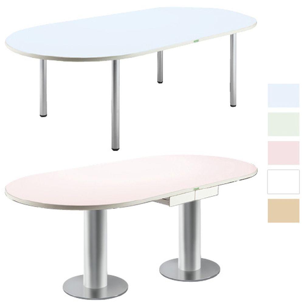 ナースステーションテーブル 天板:ホワイト/脚:ブラック KT-240MP 1台 ケルン 19-5925-1209