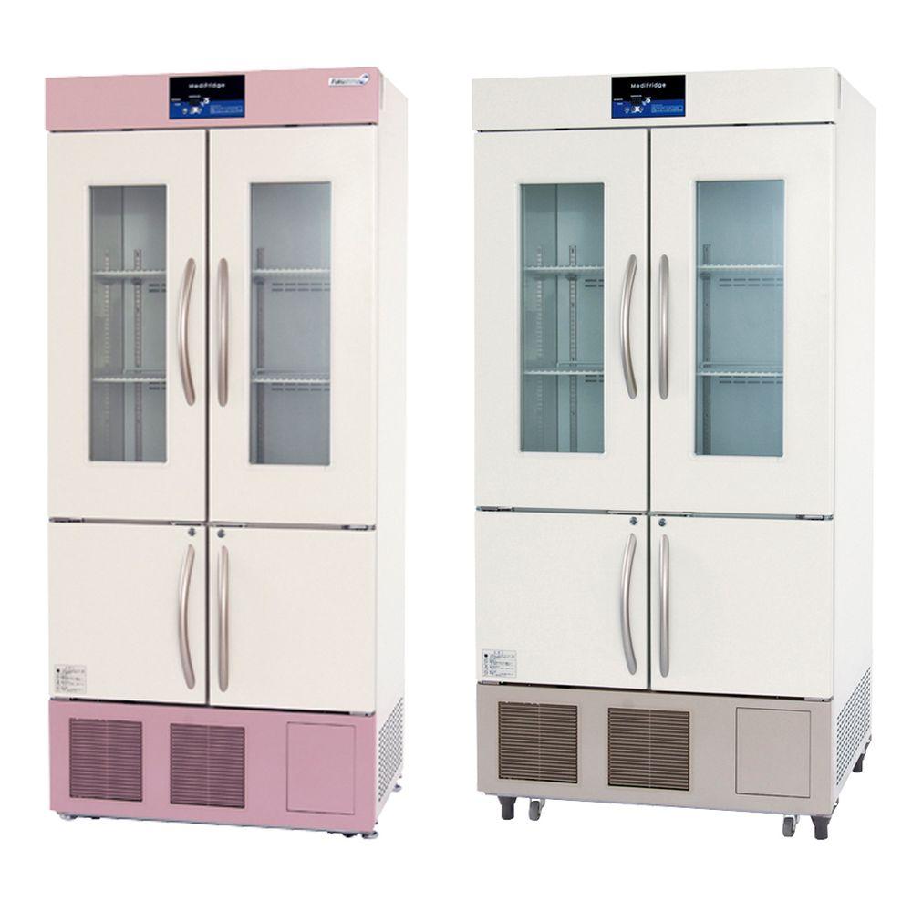 スリム型薬用保冷庫 ブラウン(上部・下部パネル) FMS-404GS(176/481L) 1台 福島工業 23-3210-0302