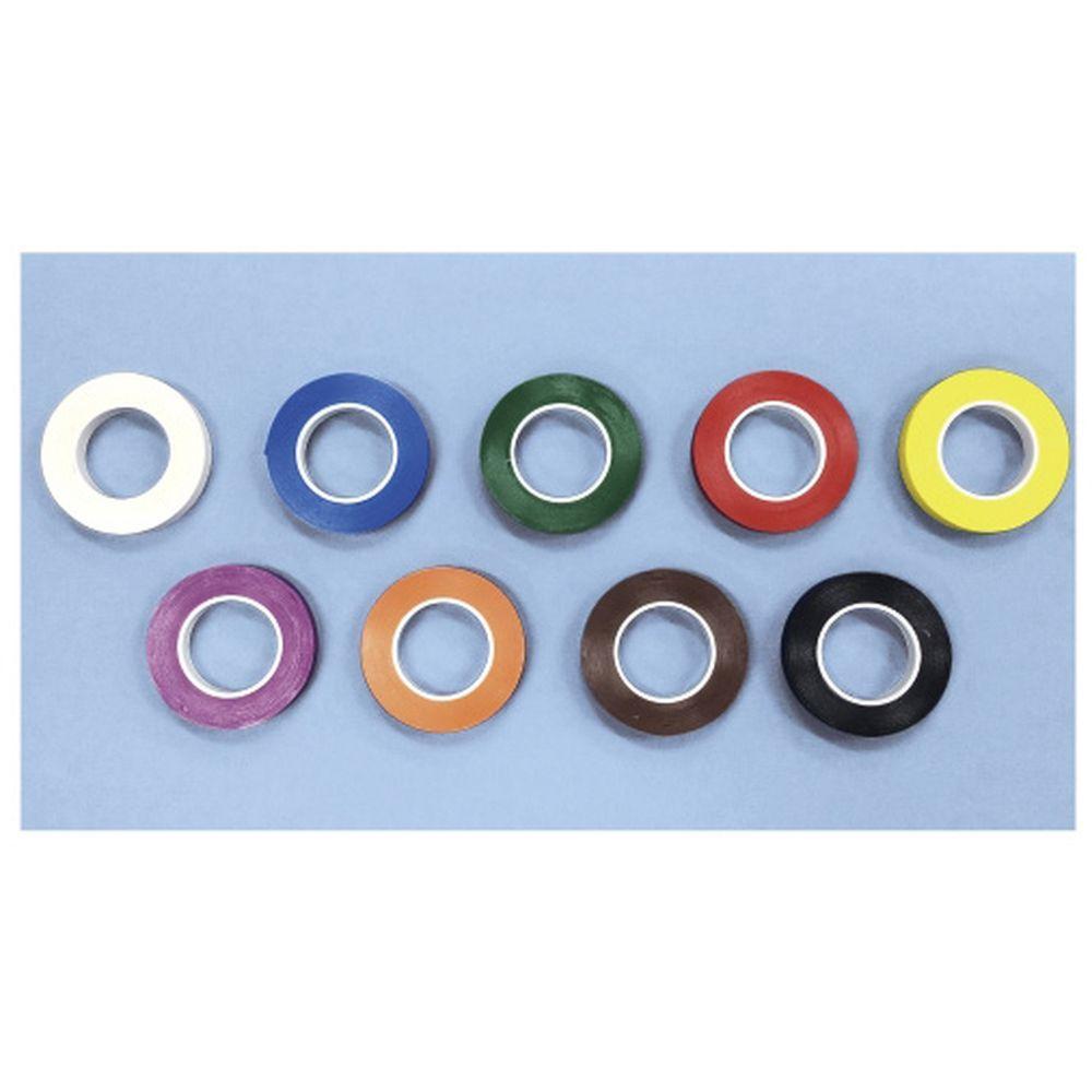 器材識別用カラーテープ 黒 T-250(6.4MMX7.61M) 4個 名優 24-3403-0109