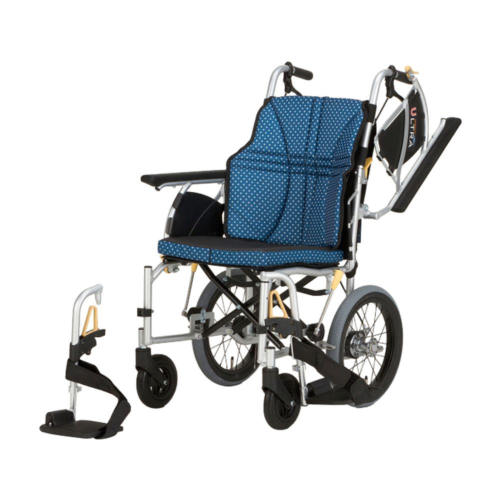 車いす ウルトラ(介助アルミ)多機能インディゴ NAH-U2W(380MM) 1台 日進医療器 24-4865-0301