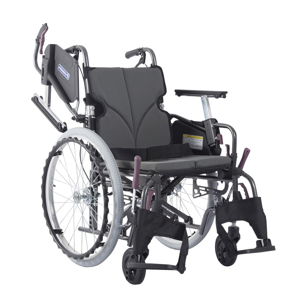 低床車いす(アルミ製)自走用 チャコールグレー82 KMD-C20-40-LO 1台 カワムラサイクル 24-7621-0101