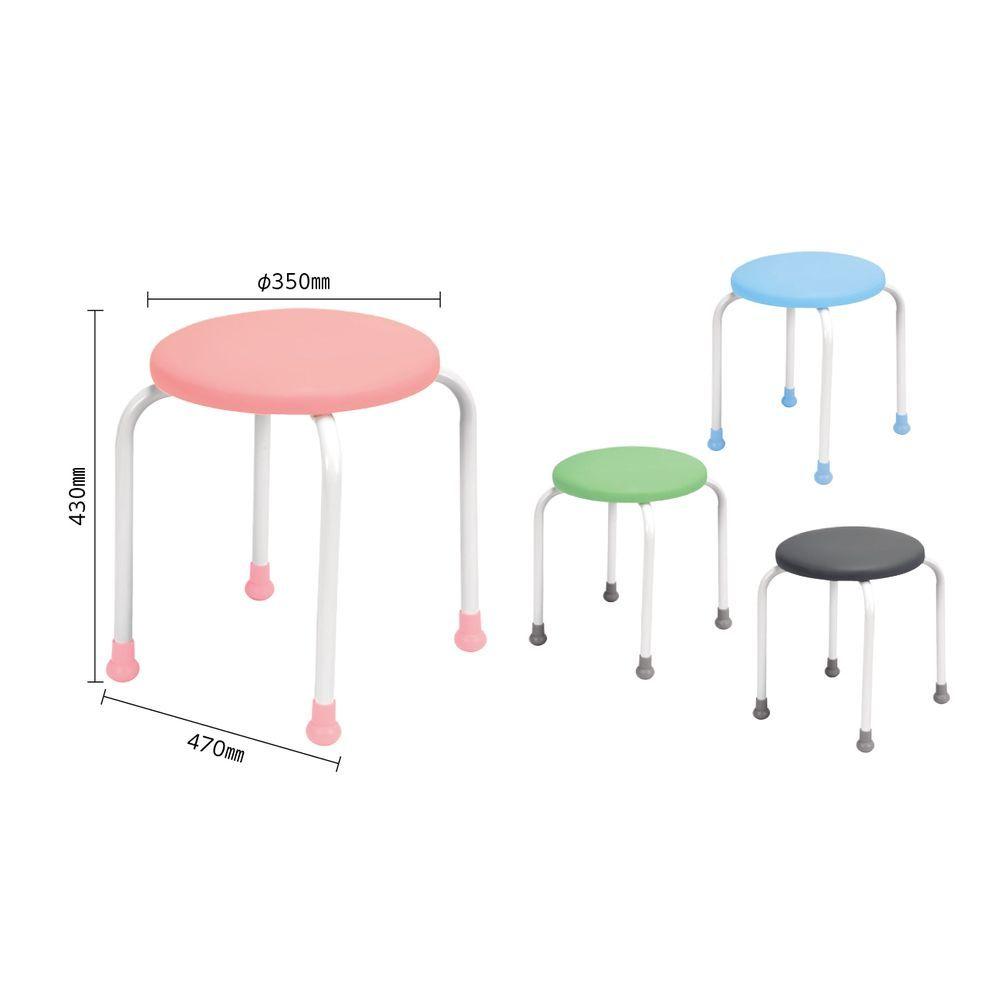 丸椅子 700-7301(ピンク) 1台 日本ホップス 24-7315-00