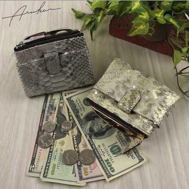 アルカン ARUKAN TAKAYA レディース財布 ピトンドール ヘビ革 がま口付き二つ折り財布 1516629 母の日 日本製 ブランド