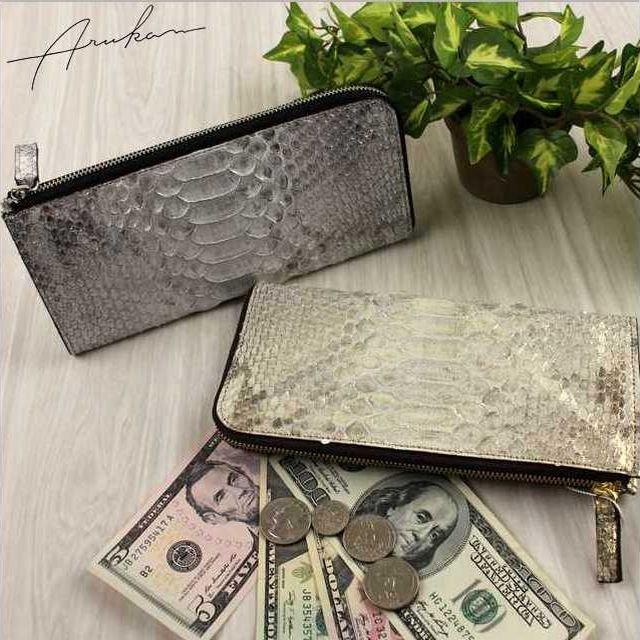 アルカン ARUKAN TAKAYA レディース財布 ピトンドール ヘビ革 L字ファスナー長財布 1520618 母の日 日本製 ブランド