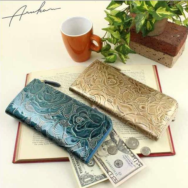 アルカン ARUKAN レディース財布 ラメローザ バラ柄型押し L字ファスナー付き長財布 送料無料 1212617 母の日 ブランド