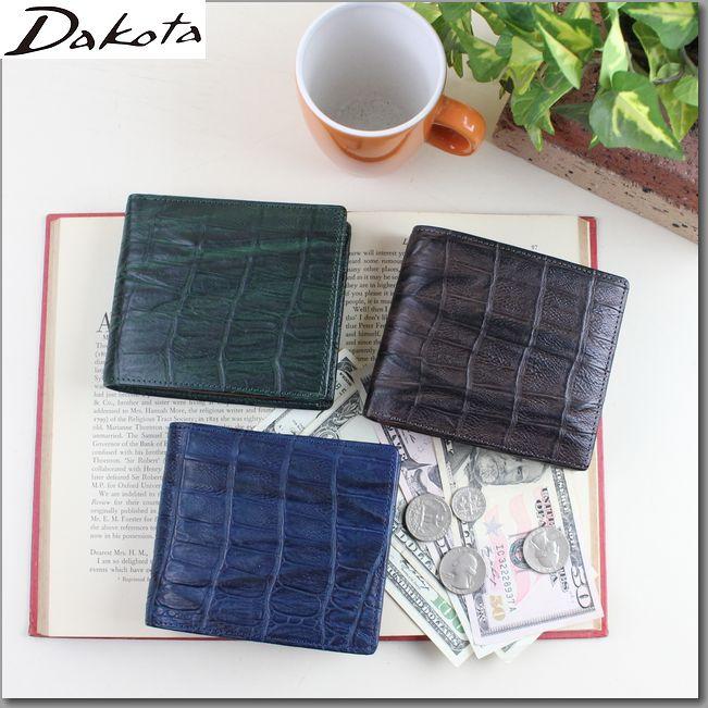 ダコタ 財布 DAKOTA メンズ二つ折り財布 ブラックレーベル ウェイブ クロコ型押し二つ折り財布 0627200 父の日 クリスマス