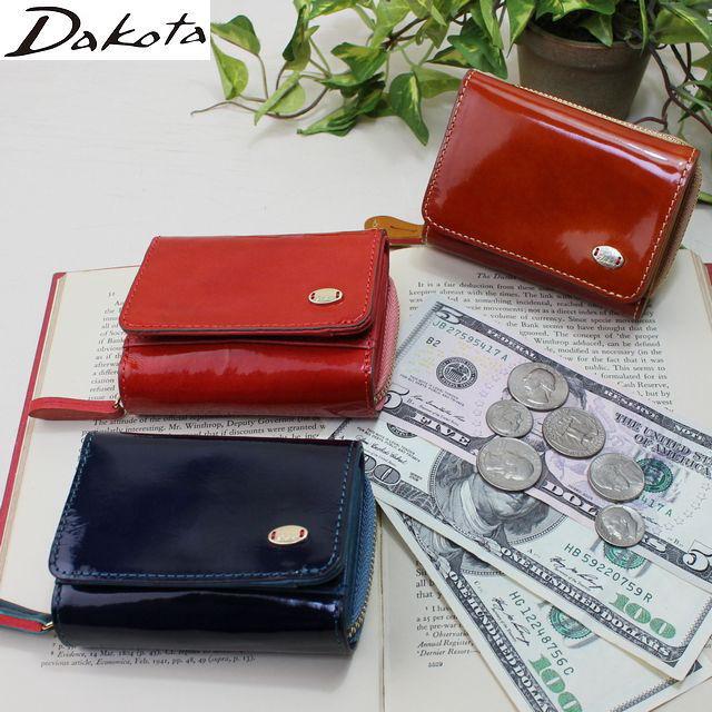 ダコタ DAKOTA 三つ折り財布 レディース財布 グロッソ かぶせ型エナメル財布 送料無料 0036460 母の日 ギフト プレゼント クリスマス