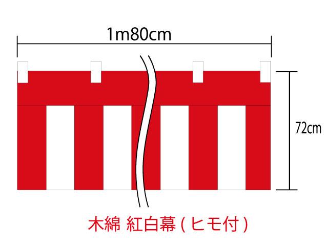 メール便不可 激安 激安特価 送料無料 仕立て済 ヒモ付 新品 国内自社製造の紅白幕です チチは綿ではありません 紅白幕72cm×180cm 綿100% 金巾 チチ付 顔料染 1間