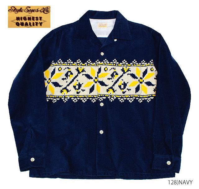 "STYLE EYES スタイルアイズ50's ROCKABILLY ロカビリースポーツシャツCORDUROY L/S OPEN SHIRT""SNOWFLAKE""Style No.SE27722"