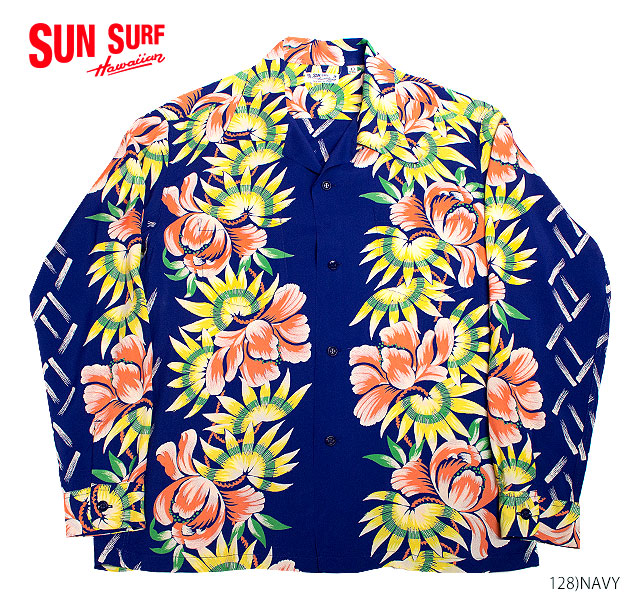 """SUN SURF×別注 サンサーフアロハシャツRAYON L/S""""ISLAND FLOWER SHOWER""""Style No.SS38038MGLS"""