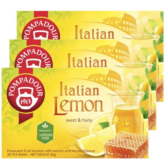 ポンパドールブランドは 1913年にドイツに誕生し 専門家により選び抜かれた良質な茶葉を提供し続け 100年の時を超え世界中で愛飲されているハーブティーブランドです ポンパドール イタリアンレモン ポンパドールのイタリアンレモンは 新鮮で香り高いイタリアのレモンを思わせる爽やかな味わい ハーブティー 爆安プライス 最安値挑戦 20ティーバッグ×3 上品でやさしい甘さがあふれ出すはちみつビッツをブレンドしたフルーツ