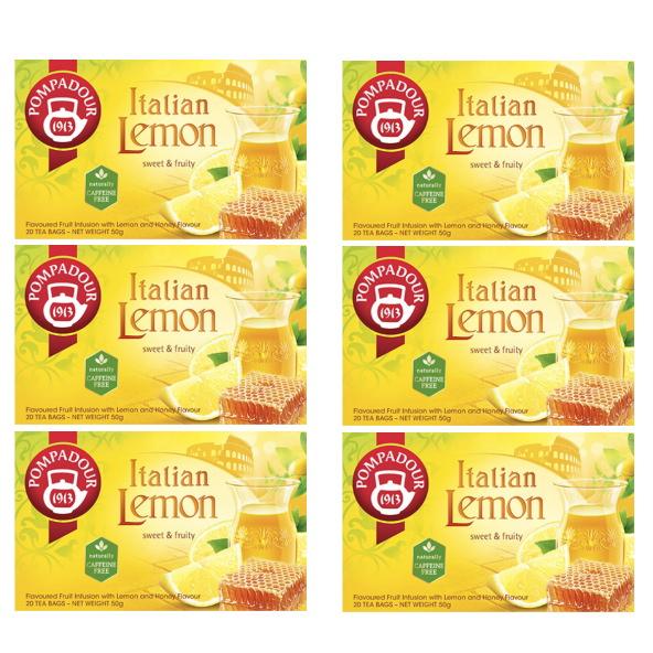 驚きの値段 ポンパドールブランドは 1913年にドイツに誕生し 専門家により選び抜かれた良質な茶葉を提供し続け 100年の時を超え世界中で愛飲されているハーブティーブランドです ポンパドール イタリアンレモン ポンパドールのイタリアンレモンは 20ティーバッグ×6 ハーブティー 新鮮で香り高いイタリアのレモンを思わせる爽やかな味わい 上品でやさしい甘さがあふれ出すはちみつビッツをブレンドしたフルーツ 早割クーポン