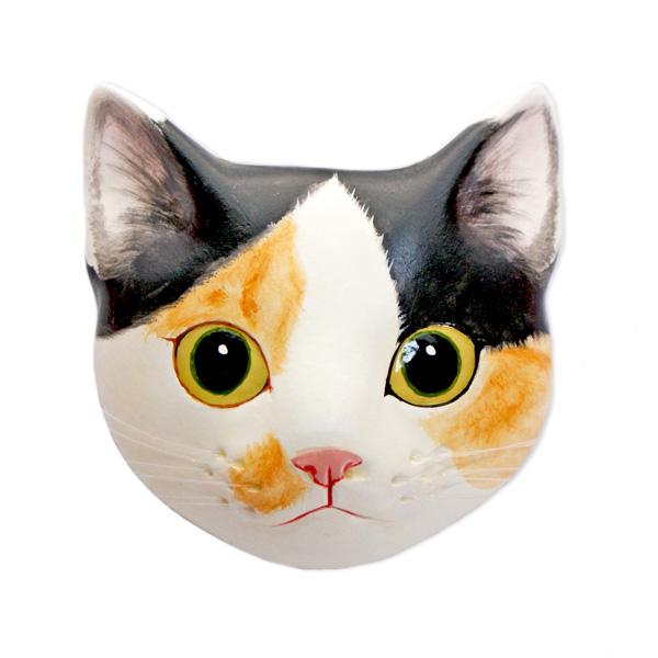 ギフト ネコ ねこ お面 インテリア 壁掛け アート 石膏 人気ブランド多数対象 粘土 1点もの 大注目 雑貨 かわいい 飾り 三毛 内装 おしゃれ ミケB ミケ 猫グッズ 猫面