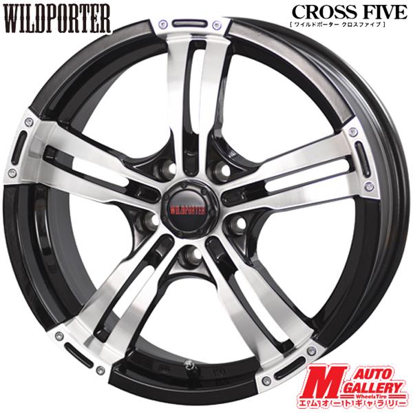 送料無料新品 アルミホイール 1台分WILDPORTER ワイルドポーター CROSS FIVE クロスファイブ17インチ 7.5J 5穴 PCD114.3 インセット42ブラックポリッシュ対応車種多数