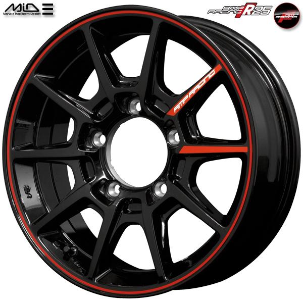 送料無料新品 アルミホイール 1台分 RMP RACING レーシング R25 16インチ 5.5J 5穴 PCD139.7 インセット20 ブラック/リムレッドライン ジムニー専用