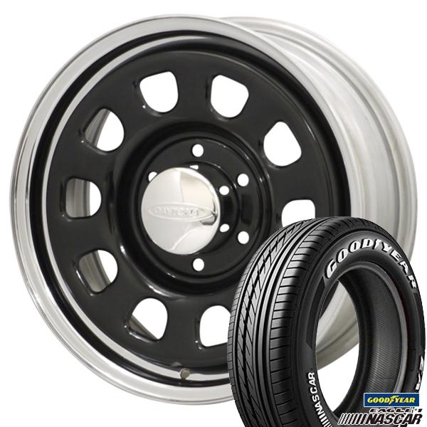 215/65R16インチ 6H139デイトナ クロームリム グッドイヤー ナスカー NASCAR ホワイトレター 新品サマータイヤ ホイール4本セット
