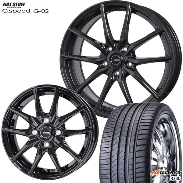 215/35R18インチ 5H114G-SPEED ジースピード G-02 ウィンラン R330 サマータイヤ ホイール4本セット