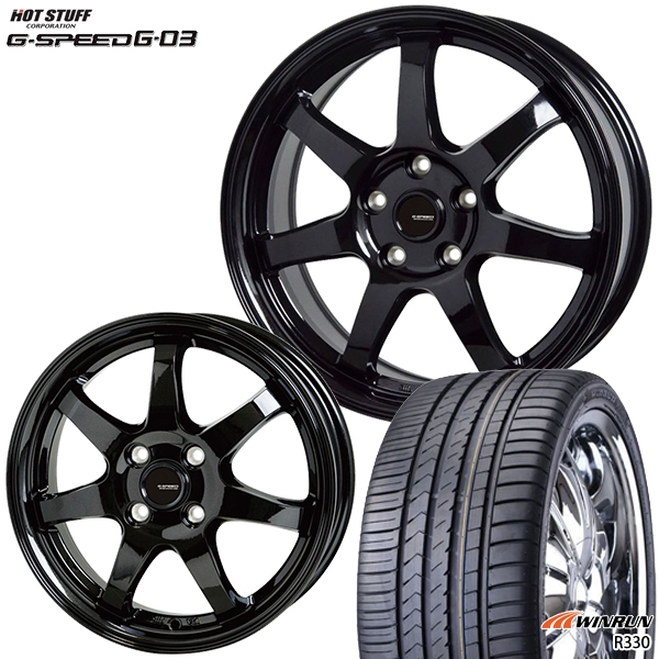 215/40R17インチ 5H114G-SPEED ジースピード G-03 WINRUN ウィンラン R330 新品サマータイヤ ホイール4本セット