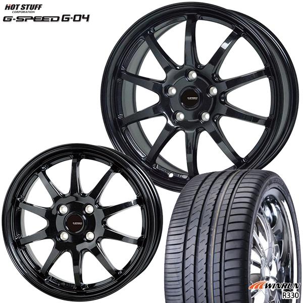 215/35R18インチ 5H114G-SPEED ジースピード G-04 ウィンラン R330 新品サマータイヤ ホイール4本セット