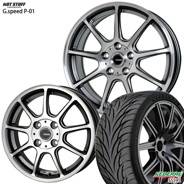 215/40R17インチ 5H114G-SPEED ジースピード P-01 フェデラルSS595 新品サマータイヤ ホイール4本セット