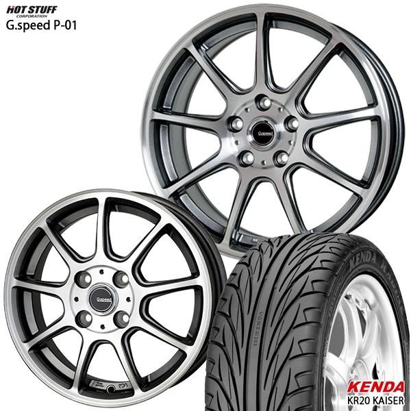 215/40R17インチ 5H114G-SPEED ジースピード P-01 ケンダKR20 新品サマータイヤ ホイール4本セット