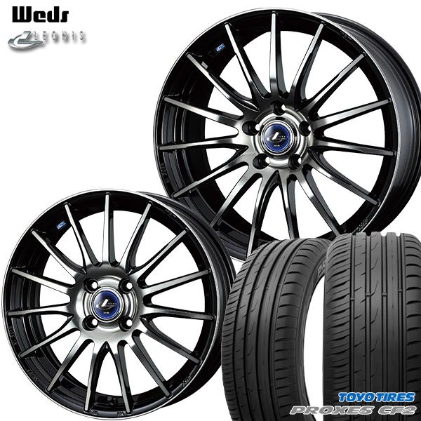 185/65R15インチ 4H100ウェッズ レオニス ナヴィア05 ブラック ミラーカット ブラッククリアートーヨー プロクセスCF2 新品サマータイヤ ホイール4本セット