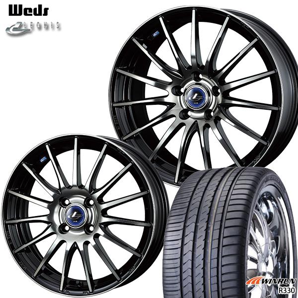 235/55R18インチ 5H114ウェッズ レオニス ナヴィア05 ブラック ミラーカット ブラッククリアーWINRUN ウィンラン R330 新品サマータイヤ ホイール4本セット