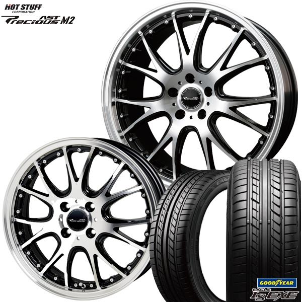 215/45R17インチ 5H100プレシャス アストM2 ブラックポリッシュ グッドイヤー LS EXE エグゼ 新品サマータイヤ ホイール4本セット