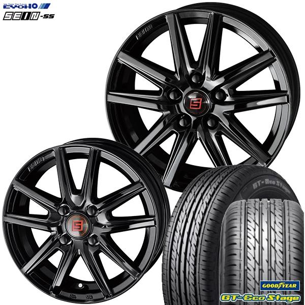 送料無料 155/65R14 SEIN ザインSS ブラックエディション 4.5J-14インチ グッドイヤー GTエコステージ 軽自動車用 新品サマータイヤ ホイール4本セット