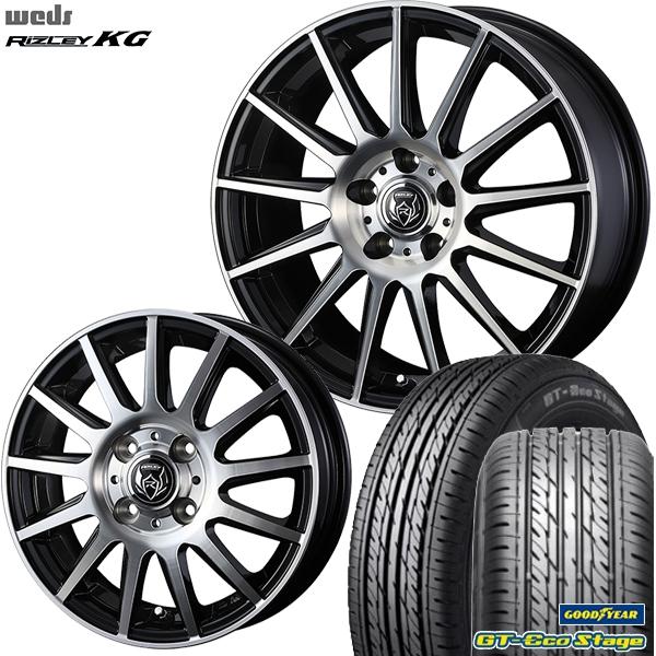 155/65R14インチ 4H100ウェッズ ライツレー KG グッドイヤー GTエコステージ 新品サマータイヤ ホイール4本セット