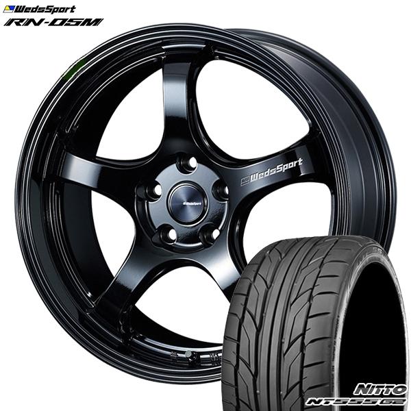 215/35R18インチ 5H114ウェッズスポーツ RN05M グロスブラック ニットーNITTO NT555G2 新品サマータイヤ ホイール4本セット