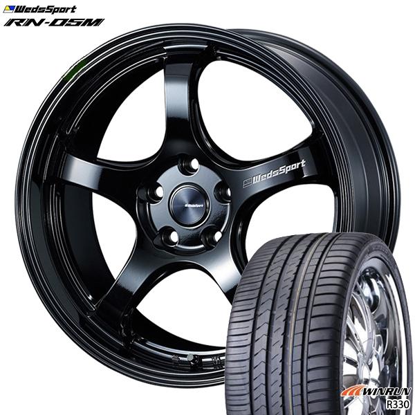 215/35R18インチ 5H114ウェッズスポーツ RN05M グロスブラック ウィンラン R330 新品サマータイヤ ホイール4本セット