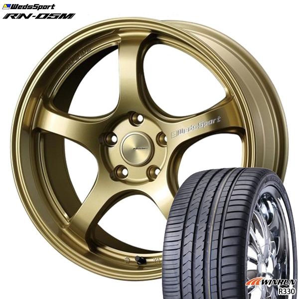 215/35R18インチ 5H114ウェッズスポーツ RN05M ゴールド ウィンラン R330 新品サマータイヤ ホイール4本セット