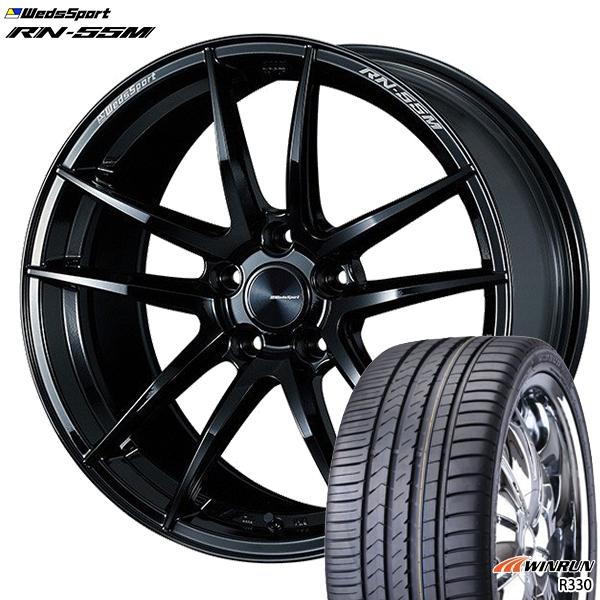 215/35R18インチ 5H114ウェッズスポーツ RN55M グロスブラック ウィンラン R330 新品サマータイヤ ホイール4本セット